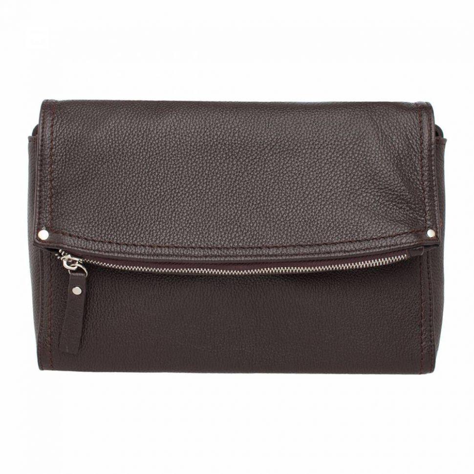 5ecbdcd4e2c8 Купить Кожаная женская сумка-клатч с длинным ремнем Lakestone Ripley Brown  коричневая ...