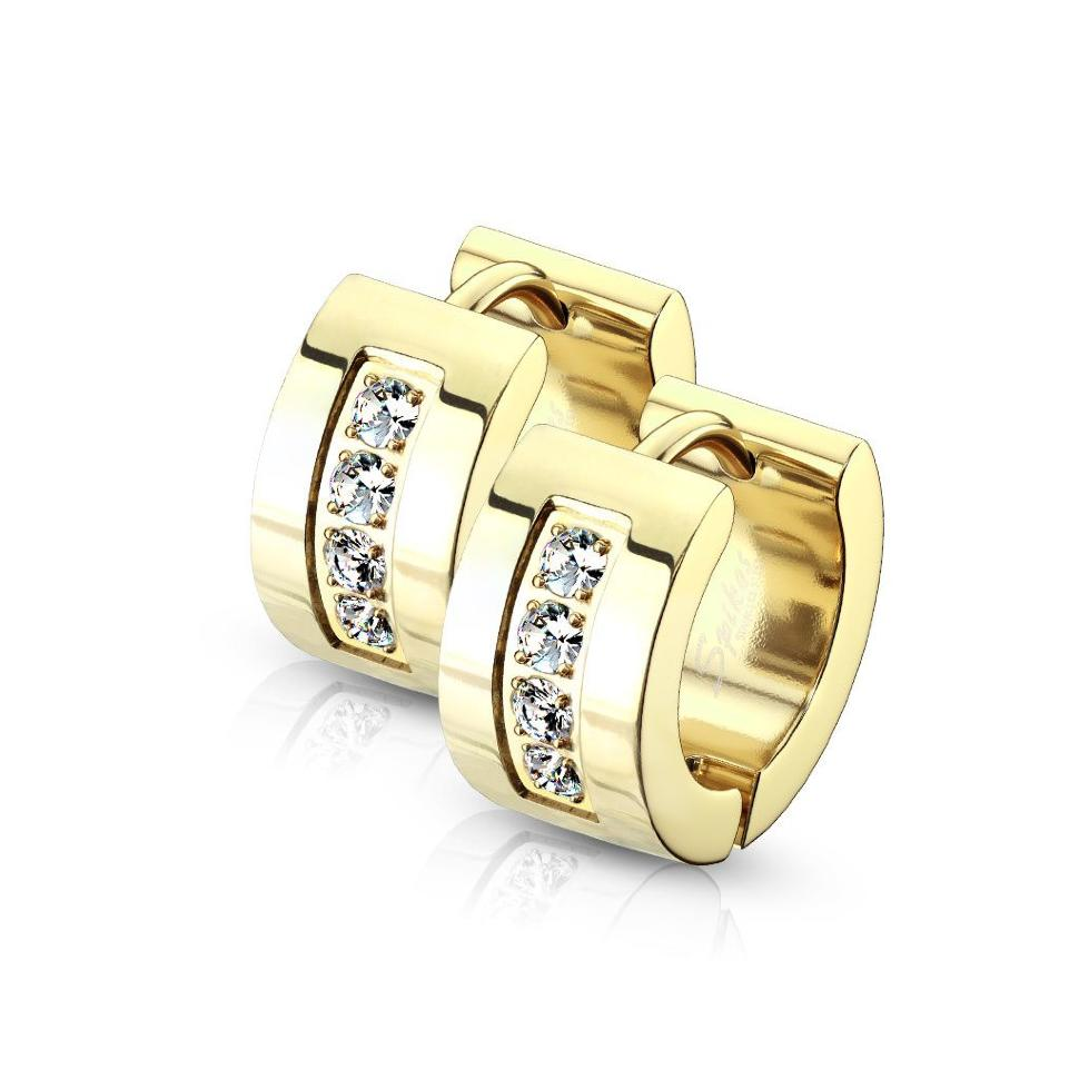6f4b548f9637b8 Купить Женские серьги-кольца из стали с фианитами Spikes SE3527 ...