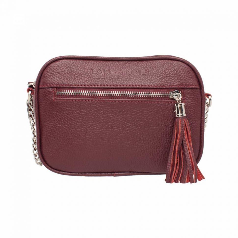 7530a2415e0b Купить Кожаная женская сумка-клатч бордового цвета Lakestone Edna Burgundy  с наплечным ремнем ...