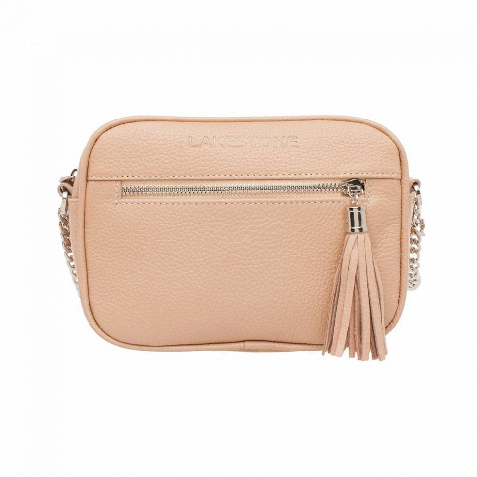 cc6fda0c5415 Купить Кожаная женская сумка-клатч персикового цвета Lakestone Edna Peach с  наплечным ремнем ...